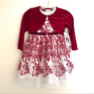 NWT Jona Michelle Red & Silver Party Dress Sz 5